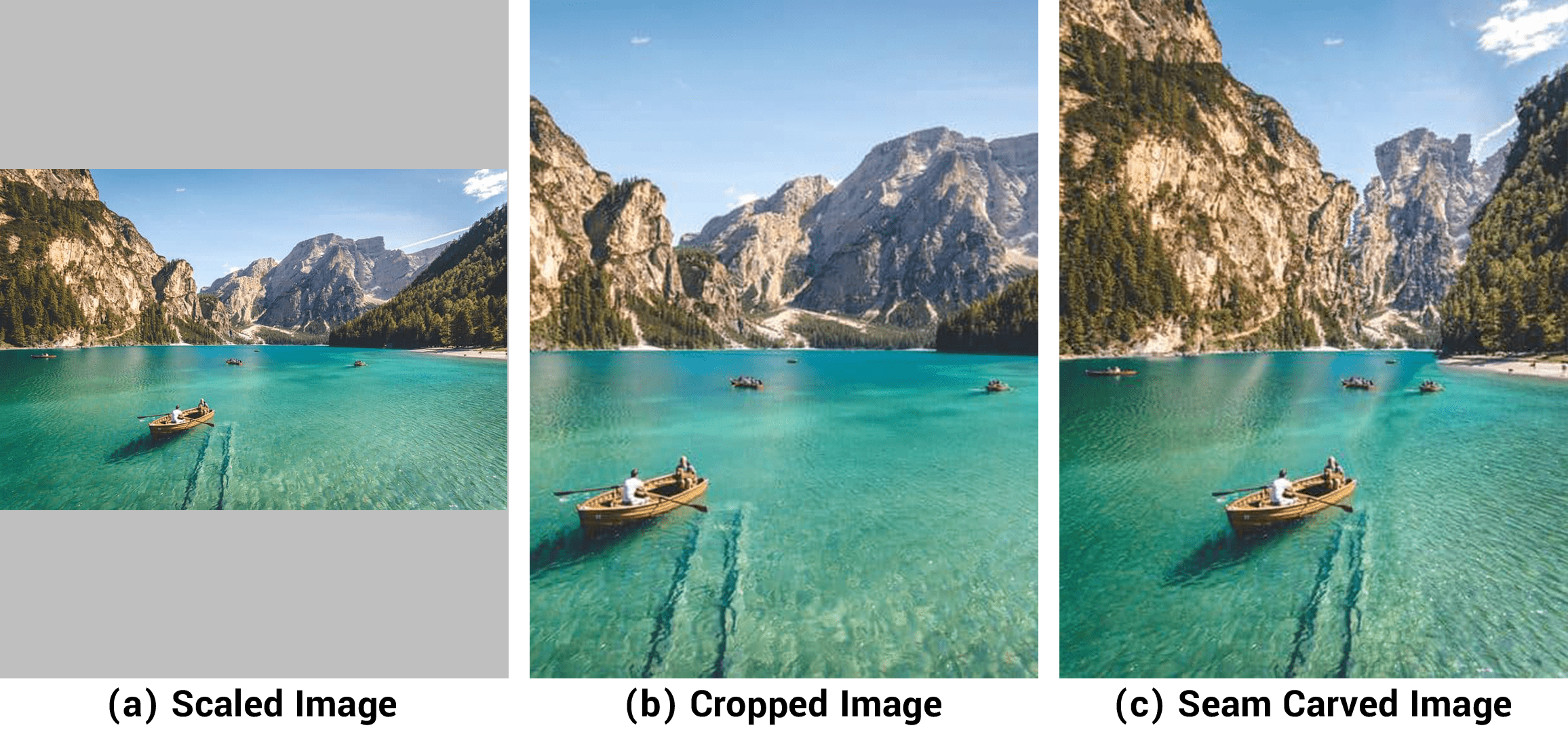 An image comparing our three methods of displaying images: (a) scaling, (b) cropping, (c) seam carving